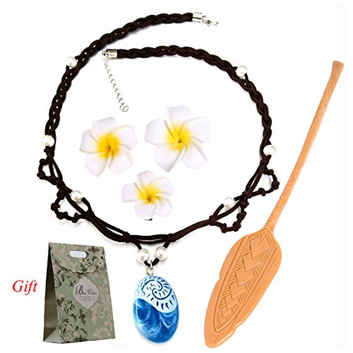 Evursua Princess Dress Up Moana Costume Accessories Set, Seashell Necklace Flower Hairpins and Moana Spear Adventure Movie For Kids