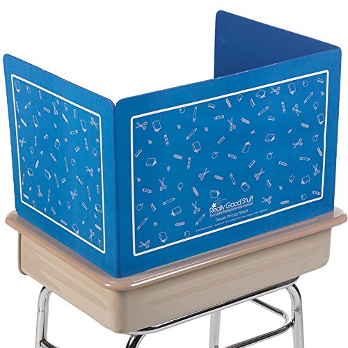 (Really Good Stuff Plastic Privacy Shields for Student Desks - Privacy Divider Keep Eyes From Wandering During Tests and Assignments - Reduces Distractions, Blue With School Supplies Pattern (Set of)