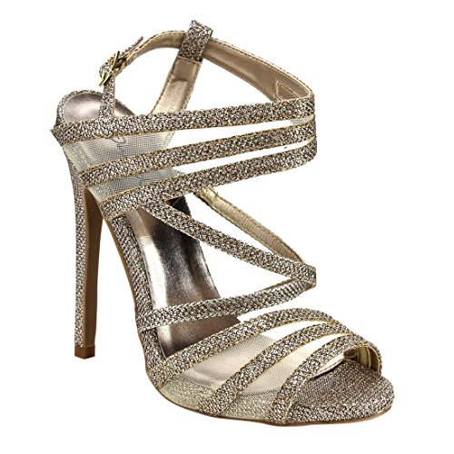 QUPID FG33 Women's Glitter Strappy Mesh Slingback Party Dress Sandals, Color:CHAMPAGNE, Size:8