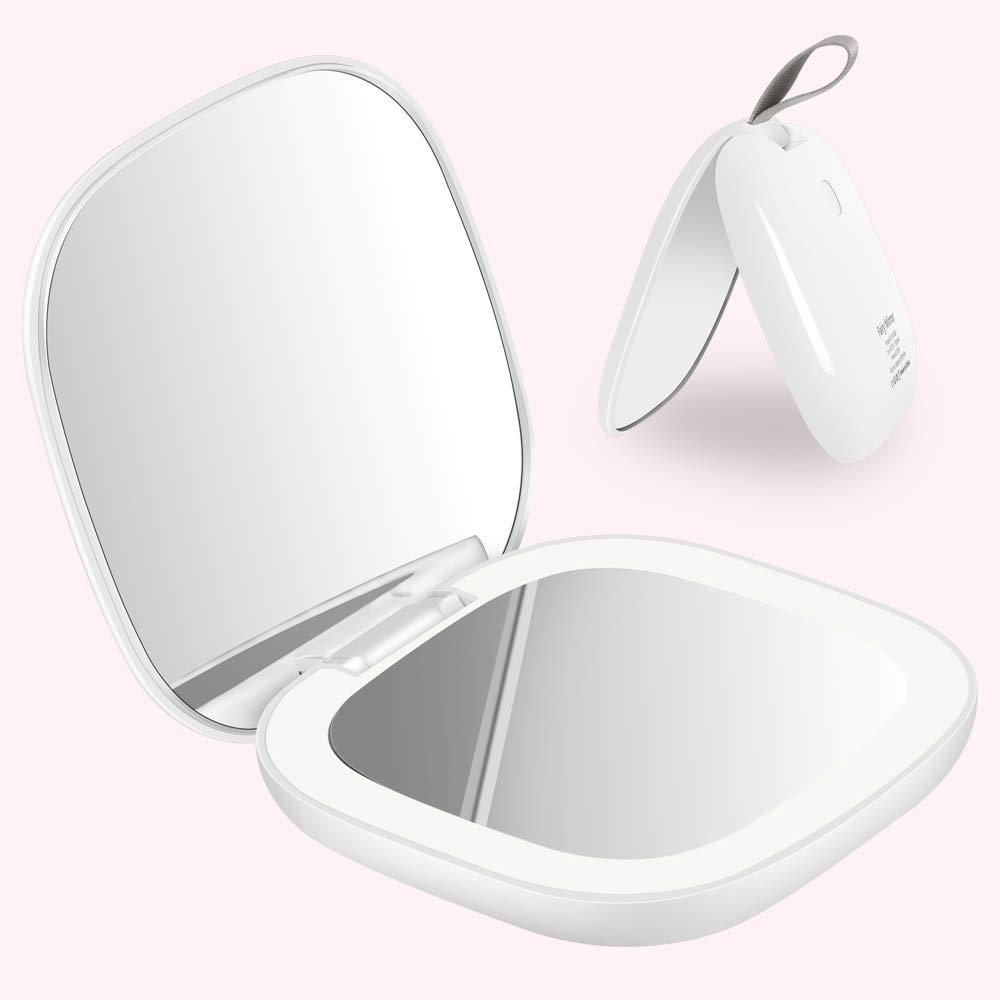 DIKI LED Miroir de Maquillage Eclairé, 1X/2X Agrandissement, Miroir de Poche Portatif de Voyage avec la charge d'USB, contrôle de Luminosité (Blanc)