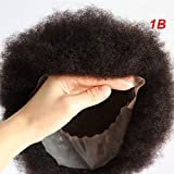 Lumeng Afro Toupee Hairpiece Afro Curl Men Toupee Male Hair Unit for Black Men 8X10 Transparent Lace Kinky Curly Toupee Human Hair African Black Curly Mens Toupee (1B Off Black)