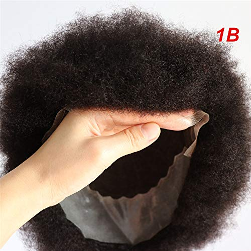 (Lumeng Afro Toupee Hairpiece Afro Curl Men Toupee Male Hair Unit for Black Men 8X10 Transparent Lace Kinky Curly Toupee Human Hair African Black Curly Mens Toupee (1B Off Black) )