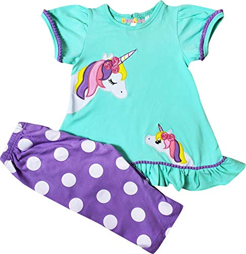Boutique Toddler Girls Spring Summer Unicorn Mom and Baby Tunic Capri Set Mint Dots 3T/M