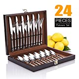 Cutlery Set, Elegant Life Flatware Set 24-Piece for 6 Stainless Steel Utensils Include Knife/Fork/Spoon with Matte Handle and Sharp Blade Safe for Dishwasher