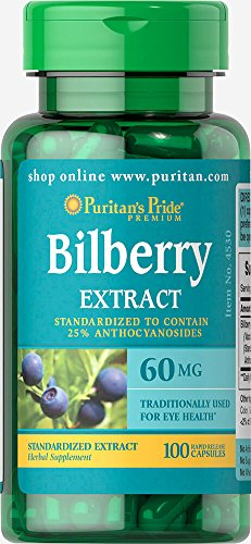 Puritan's Pride Bilberry Fruit Standardized Extract 60 mg-100 Capsules ()
