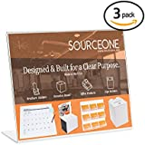"SourceOne Slanted Sign Holder - 11"" x 8 1/2"" Landscape - Clear Acrylic Ad Frame"