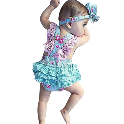 Efaster Newborn Baby Girls Floral Print Lace Backless Romper+Headband Outfit Set