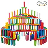 Siming 120 PCS Colorful Wooden Dominoes Set, Blocks Set Building Kits Educational Racing Toy Game for Children Kids Adults