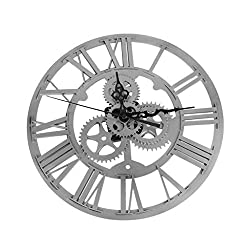 Dovewill 14'' Industrial Style Roman Numeral Gear Wall Clock Indoor Outdoor Home Garden Ticking - Silver, 14''