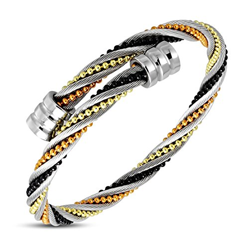 (NRG 316L Jewelry Stainless Steel Twisted Tubular Herringbone Colorful Stitch Beading Celtic Cable Wire Bangle)