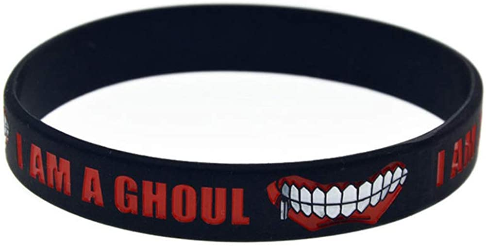 Raleighsee Tokyo Ghoul color negro Pulsera de silicona suave con dise/ño de anime japon/és