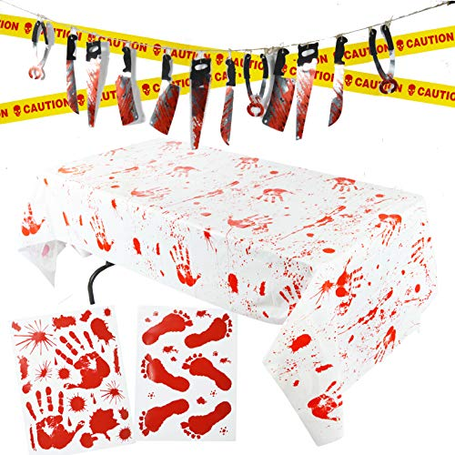 Spooktacular Creations Halloween Party Decoration Set, Including Bloody Tablecover, Weapon Garland, Bloody Clings and Caution Tapes, 5 Piece for $<!--$11.95-->