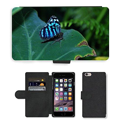 "Just Phone Cases PU Leather Flip Custodia Protettiva Case Cover per // M00128398 Papillon Bleu Nature Papillons // Apple iPhone 6 PLUS 5.5"""