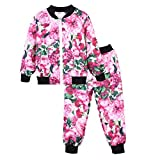 LZH Girls Tracksuit Outfits Joggers Clothes Floral Print Coat + Trousers Set