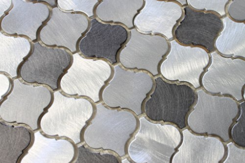 10 Square Feet - Uptown Aluminum Metal Arabesque Mosaic Tiles by Rocky Point Tile