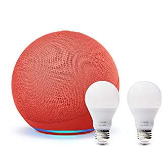 All-new Echo (4th Gen) - (PRODUCT) RED - bundle with Philips Hue Bulbs (2-pack)