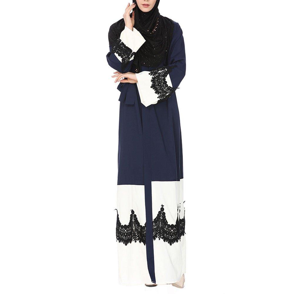 Molyveva Women New Muslim Islamic Kimono Lace Stitching Cardigan Loose Robe Coat by Molyveva Women Coat (Image #1)