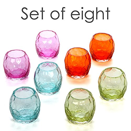 Hosley Set of 8 Color Glass Tea Light/Votive Holders. Ideal for Fiesta Weddings, Parties, Special Events, Aromatherapy, Spa O7