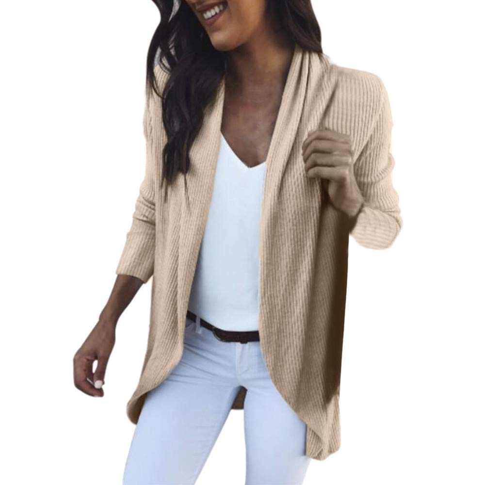 YANG-YI Clearance Sale Women Long Sleeve Solid Open Front Cardigans Tops