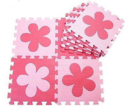 10 x mousse dalles / tapis bébé / tapis de jeux / fond de parc / dalles en mousse / tapis puzzle 30cm*30cm*1cm (fleur, rouge + rose) ZeleSouris