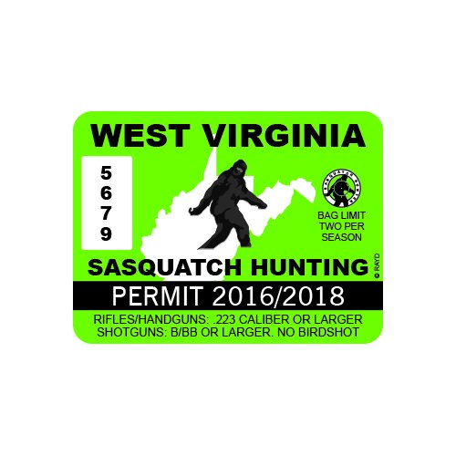 West Virginia Sasquatch Hunting Permit - Color Sticker - Decal - Die Cut