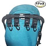 HIG Stroller Hook - 4 Pack of Multi Purpose Hooks - Hanger for Baby Diaper Bags, Groceries, Clothing, Purse (4 PCS)