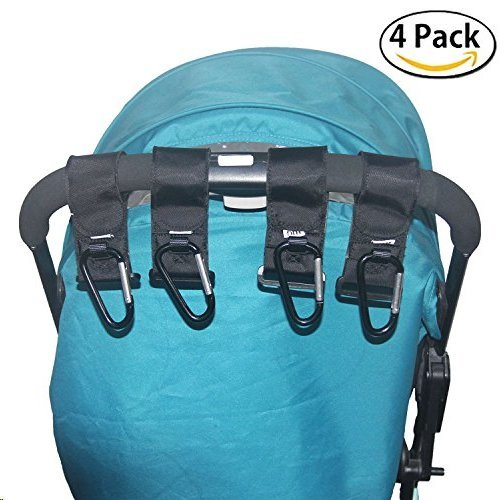 Free Jogging Stroller Safety Light - HIG Stroller Hook - 4 Pack of Multi Purpose Hooks - Hanger for Baby Diaper Bags, Groceries, Clothing, Purse (4 PCS)