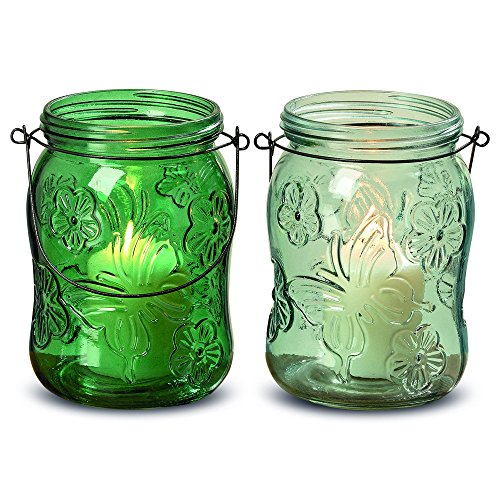 The Farmer's Market Fancy Mason Jar Candle Holders, Butterflies and Flowers, Set of 12, Vintage Rustic Style Hurricane Lanterns, Glass, Shades of Green, Mixed, 6 Inches Tall, By WHW (Glass Vase Pressed Bud)
