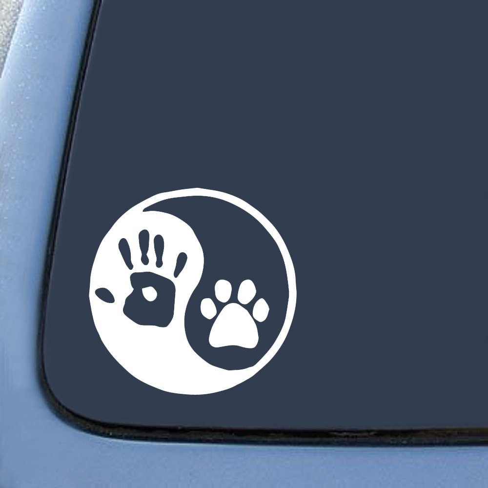 Amazon yin yang human hand dog paw sticker decal notebook car amazon yin yang human hand dog paw sticker decal notebook car laptop 6 white automotive biocorpaavc