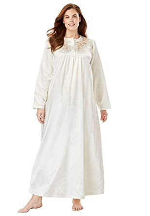 b8479bd76b Only Necessities Women s Plus Size Embroidered Bib Brushed Satin Nightgown  - Ivory Flowers