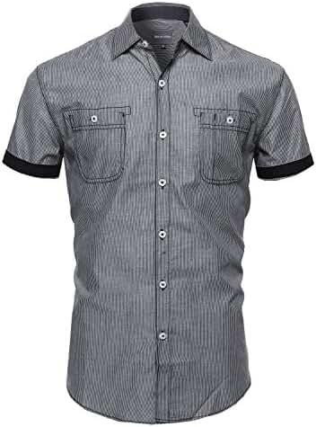 SBW Men's Striped Button Down Short Sleeve Shirt