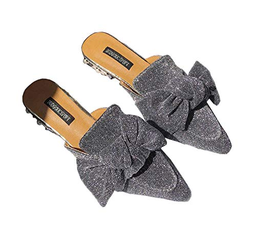 Luobote Women Mules Flat Mules Slip On Loafer Bow Mules Pointed Toe Slide Slippers