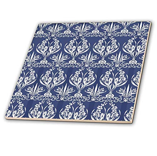 (3dRose French Country Style Floral Damask in Blue-Ceramic Tile, 12-inch (ct_216478_4), Multicolor)