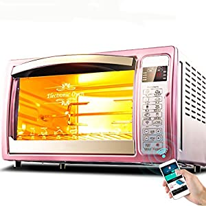 DULPLAY Toaster Oven,Mini,32l large capacity,Fully automatic,Intelligent,Countertop Oven Digital Convection Polished stainless Toast Home Kitchen -pink 51x33x29cm(20x13x11inch)