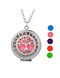 """Supreme Glory Tree of Life Aromatherapy Essential Oil Diffuser Necklace NextBox Pendant with Pierced,24"""",Silver Tone"""