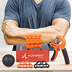 Movement Fitness Co. Hand Grip Strengthener Finger Exerciser Kit (5 Pieces) – Adjustable Hand Gripper 22-88lbs, Weighted Finger Strengthener, Two Static Finger Strengtheners, Massage Exercise Ball