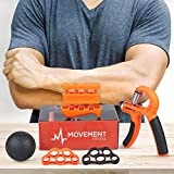 Movement Fitness Co. Hand Grip Strengthener Finger Exerciser Kit (5 Pieces) – Adjustable Hand Gripper 22-88lbs, Weighted Finger Strengthener, Two Static Finger Stretchers, Resistance Exercise Ball Review