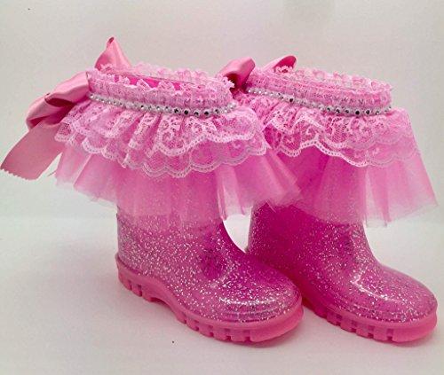 Rose fête Bottes en caoutchouc pour fille Taille UK 9. personnalisée Bling Romany Strass Strass Infant Junior. Bottes en caoutchouc.