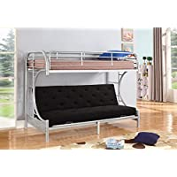 NHI Express Jordan Over C Futon Metal Bunk Bed, Twin, Silver
