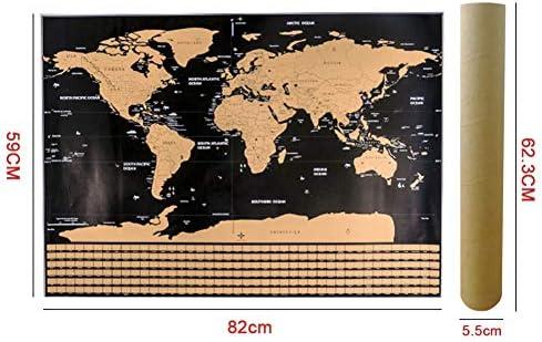Leezo - Póster de mapa del mundo para rascar con banderas de campo ...