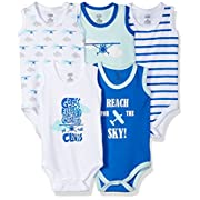 Luvable Friends Baby Infant 5-Pack Lightweight Sleeveless Bodysuits, Airplanes, 3-6 Months