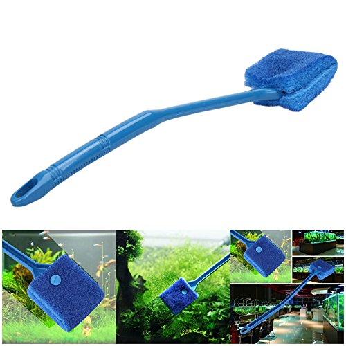 Price comparison product image Petacc Double-sided Fish Tank Cleaner Sponge Cleaning Brush Portable Scraper Practical Scrubber with Non-slip Handle,  Suitable for Cleaning Fish Tank (Blue)