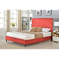 Home Life Cloth Burgundy Red Linen 51 Tall Headboard Platform Bed with Slats Twin - Complete Bed 5 Year Warranty Included 008