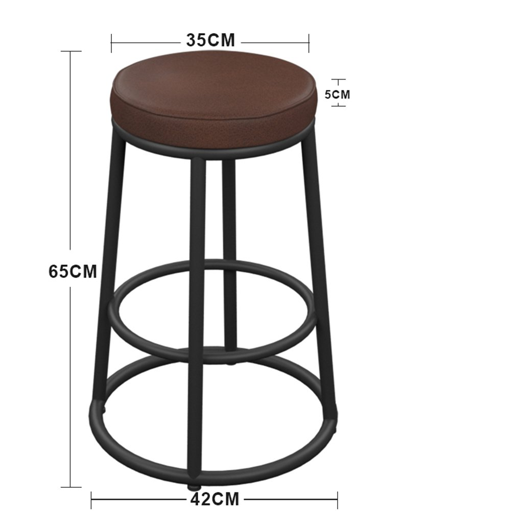 Height 65cm Chair Bar Stool Breakfast Chair Navia Style Thick PU Leather Pad High Stool Front Desk Chair (Size   Height 75cm)