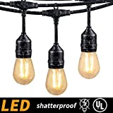 48FT Outdoor Cafe String Lights with 15 Shatterproof LED S14 Edison Bulbs-UL Listed Commercial Grade Patio Lights for Backyard Bistro Pergola Deck Gazebo Tent Garden Decoration, Warm White