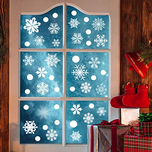 365PCS Christmas Snowflake Window Clings Sticker Decal White Merry Christmas Xmas Reindeer Happy New Year for Holiday Winter Wonderland White Decorations Ornaments Party Supplies (6 Sheets)
