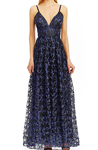 Textured Split Neck - Nicole Miller Women's Textured Split-Neck Gown Dress Blue 2