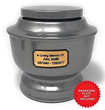SmartChoice Classic Funeral Cremation Urn for Human Ashes a Variety of Colors Available Adult Urn with Velvet Bag Silver