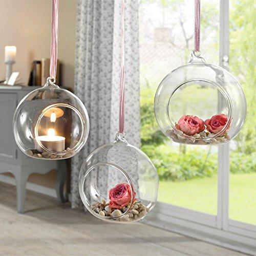 Sziqiqi 80MM Hanging Tealight Holder Glass Globes Terrarium Wedding Candle Holder Candlestick (10 Pcs/set)