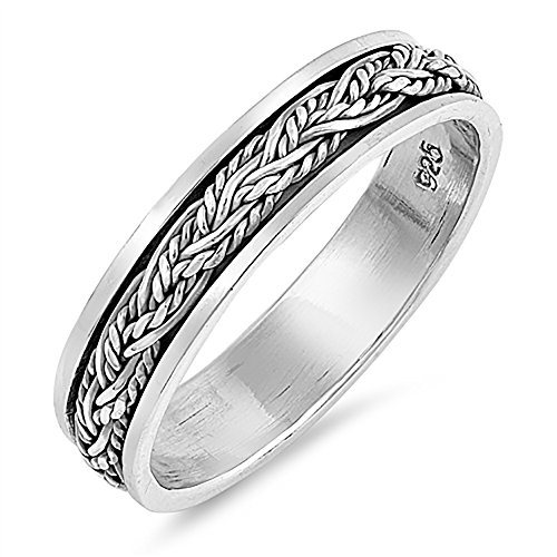 Rope Spinner Ring - Sterling Silver Oxidized Braided Rope Spinner Ring - Size 8